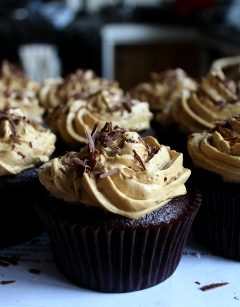 Chocolate Coffee Cupcakes With Coconut Frosting Recipe — Dishmaps